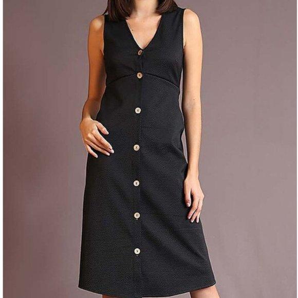 free 382 Dresses & Skirts - Sleeveless V neck Button Up Dress